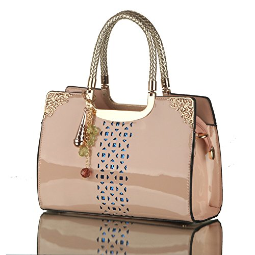 Top Style out Purse Bags Tote Skin Apricot Handle Lady Leather Women Handbags PU Leather Hollow NVRENLIAN Patent 5wtY8Zq