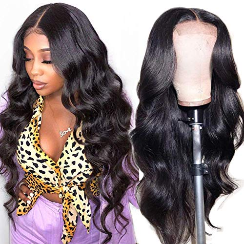 Luduna Brazilian Body Wave Lace Front Human Hair Wigs with Baby Hair 130% Density 100% Unprocessed Brazilian Pre Plucked Glueless Lace Front Human Hair Wigs for Black Women (20'',Natural Color)