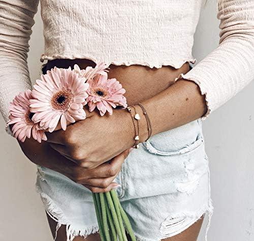 Happiness Boutique Delicate Bracciale in Oro Rosa con Ciondolo Cuore | Braccialetto Doppia Catenina Stile Minimal Senza Nickel