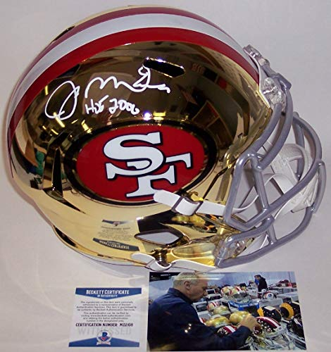 Joe Montana Autographed Hand Signed Riddell San Francisco 49ers Chrome Speed Full Size Football Helmet - with Hall of Fame 2000 inscription - BAS Beckett Authentication