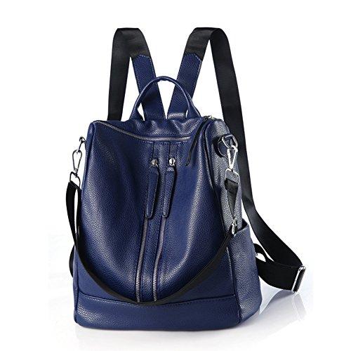 Classic Shoulder Purse Blue Leather Bag Unisex Versatile Backpack Women Casual Genuine wfYgYzIq