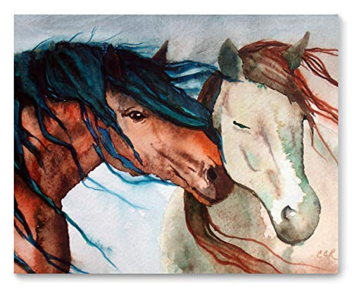 - Horses Fine Art Print, Nuzzling Horses by Cheryl Casey Art, Equine Portrait