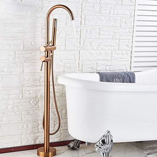 床に取り付けられた浴槽のシャワーの蛇口、ハンドシャワー付きの自立式バスルームのシャワーミキサータップシングルハンドルの浴槽フィラー,Rose gold