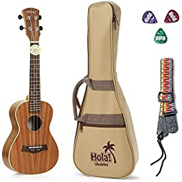 Concert Ukulele Bundle – LEFT HANDED, Deluxe Series by Hola! Music (Model HM-124LFT+), Bundle Includes: 24 Inch Mahogany…