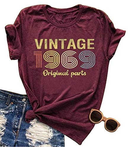 fee765eb0 Vintage 1969 Original Part Rock Legend T Shirt Women Funny Country Music  Shirt Cute 50th Birthday