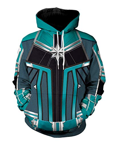 Super Hero Hoodie Super Hero Costume Creative Fashion Sweater Halloween Costume (XXL, Captain-M -