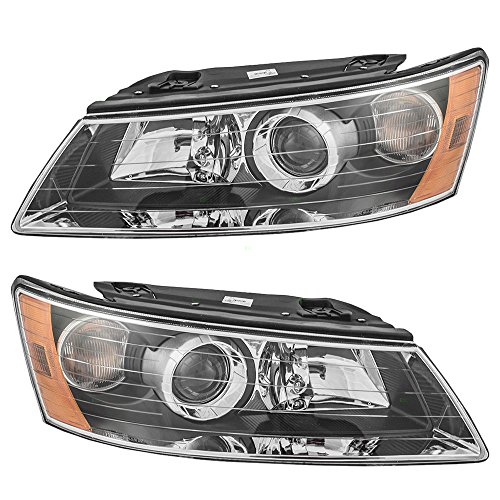 Headlights Headlamps Driver and Passenger Replacements for 06-08 Hyundai Sonata 92101-0A000 92102-0A000