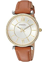 Fossil Womens Carlie Quartz Stainless Steel and Leather Casual Watch, Color Silver-Toned (Model: ES4344)