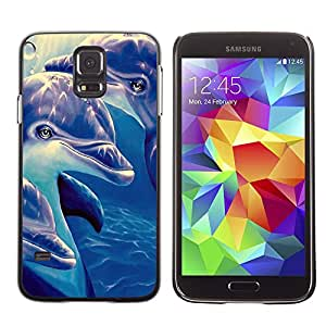 SHIMIN CAO- Dise?o Caso duro de la cubierta Shell protector FOR Samsung Galaxy S5 I9600 G9009 G9008V- Dolphins sea