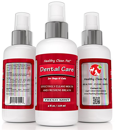 Dog Breath Freshener – All Natural Dental Care Spray & Water Additive – No Toothbrush Required – 4 oz by Healthy Clean Pet