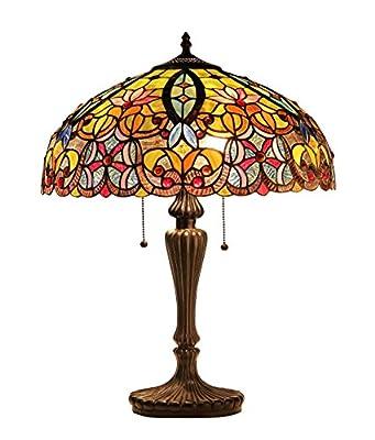 Chloe Lighting CH33456GV18-TL2 Tiffany Libby, Tiffany-style Victorian 2 Light Table Lamp 18-Inch Shade, Multi-colored