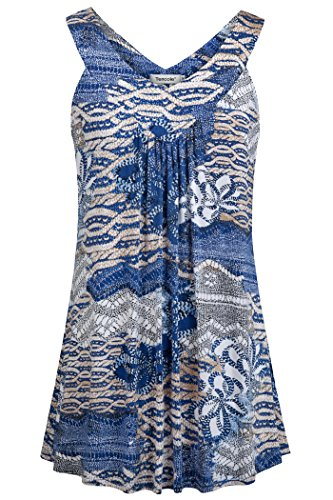 Tencole Cute Summer Clothes for Women, Long Tunic Tank Tops Trendy Tee Shirt Summer Wear Womens Summer Tops and Blouses for Work Blue Apricot M