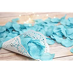 Quasimoon PaperLanternStore.com Turquoise Silk Rose Petals Confetti for Weddings in Bulk