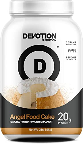 Devotion Nutrition Whey Protein Powder Blend, Angel Food Cake Flavor, 20g Protein, No Added Sugars, 2lb Tub, Packaging May Vary