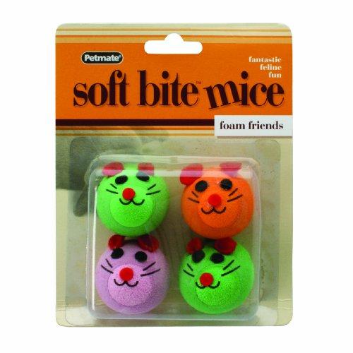 Petmate Softbite Cat Toy, 4-Pack, Foam Mice, My Pet Supplies