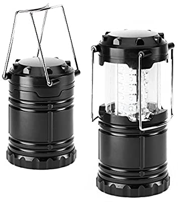 Everyday Essentials 2 Pack Ultra Bright LED Collapsible Water Resistant Camping Lantern Flashlights [NEWEST VERSION]
