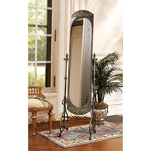 Design Toscano Lady Constance Crafted Metal Full Length Cheval Mirror, Bronze FU78475