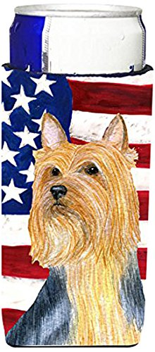 USA American Flag with Silky Terrier Ultra Beverage Insulators for slim cans SS4250MUK