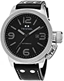TW Steel Canteen Automatic - Black Dial Date TW Steel Watch Mens - Black Leather Band 50mm Stainless Steel Mens Automatic Watch TWA201