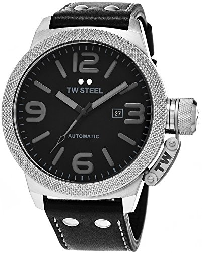 TW Steel Canteen Automatic - Black Dial Date TW Steel Watch Mens - Black Leather Band 50mm Stainless Steel Mens Automatic Watch TWA201 by TW Steel
