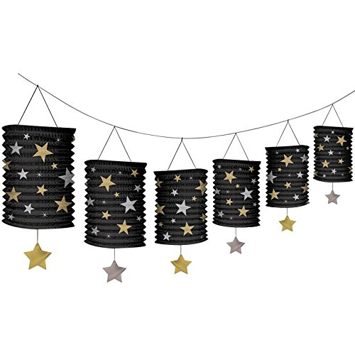Amscan Hollywood Paper Lantern Garland Hanging Party Decoration, 12'. - Lantern Garland