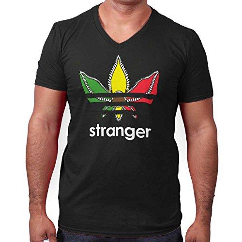 Stranger Logo Weed Stoner Marijuana Leaf V-Neck T Shirt Black (Shirts With Weed Logo)