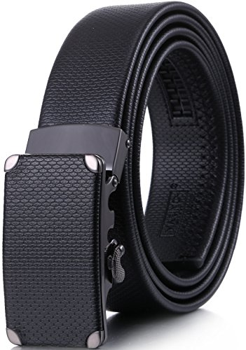 Marino Mens Leather Belt, Soft Leather Ratchet Dress Belt With Automatic Buckle - Enclosed In An Elegant Gift Box - Pointed Ovaliform Ratchet Belt - Black - Fits waist sizes up to (Mens Gift Belt Buckle)