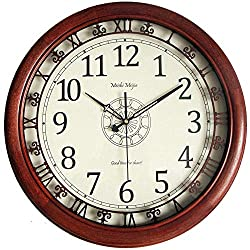 Wall Clocks Large Decorative for Living Room - 19 Inch Analog Quartz Silent Wall Clocks Battery Operated Non Ticking Decorative - Modern Wood Wall Clock