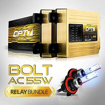 OPT7 Bolt AC 55w Hi-Power 9007 Bi-Xenon HID Kit - Relay Bundle - All Bulb Sizes and Colors - 2 Yr Warranty [6000K Lightning Blue Light]