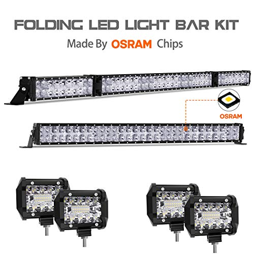 - LED Light Bar Kit, Autofeel 6000K OSRAM Chips 52 Inch + 32 Inch 35000LM Flood Spot Beam Combo White LED Light Bars + 4PCS 4