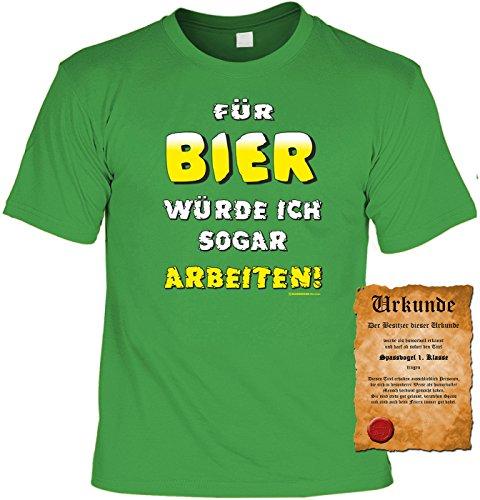 T-Shirt mit Urkunde - Für Bier würde ich sogar Arbeiten - lustiges Sprüche Shirt als Geschenk für Leute mit Humor - NEU mit gratis Zertifikat!