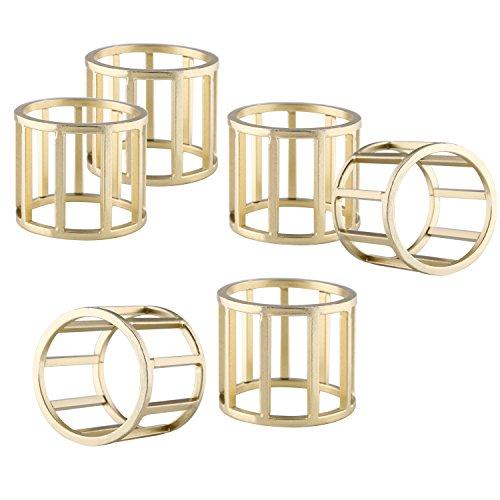 Set of 6 Modern Design Round Metal Napkin Ring Holders for Dinning Table Decoration, Brass-Tone (Modern Napkin Rings)
