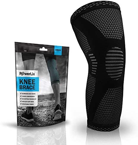 POWERLIX Compression Knee Sleeve - Best Knee Brace for Men & Women – Knee Support for Running, Basketball, Weightlifting, Gym, Workout, Sports – Please Check Sizing Chart