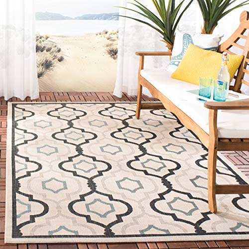 Safavieh Courtyard Collection CY7938-256A18 Beige and Black Indoor/ Outdoor Area Rug (8' x 11') ()