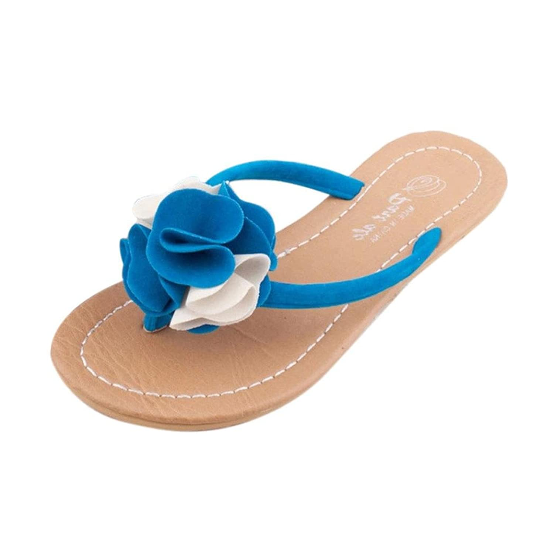 Sandales Femmes,Angelof Femmes BohèMe Fleurs Accueil Sandales De Plage Pantoufles Semelles Plates Chaussures Occasionnelles 60%OFF
