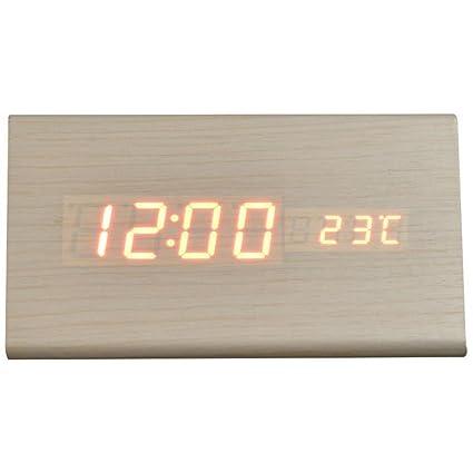 KHSKX Salón Creativa Moderna y Simple Reloj Madera, Reloj Despertador Digital, Mudo Reloj,