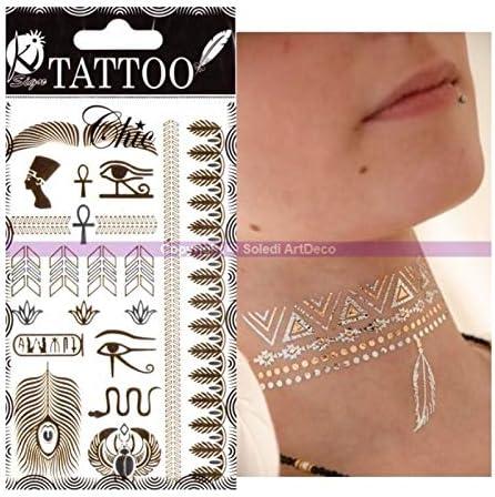 Tatuaje efímero Chic dorado y plateado, Egipto, tabla Tattoos: 15 ...