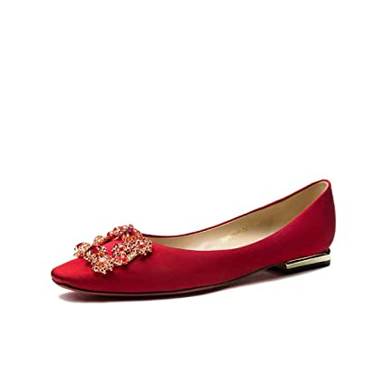 e6bcf45078310 Eeayyygch Women s Satin Shoes Rhinestone Square Buckle Flat Shoes Square  Head Shallow Mouth Wedding Shoes (Color   Red