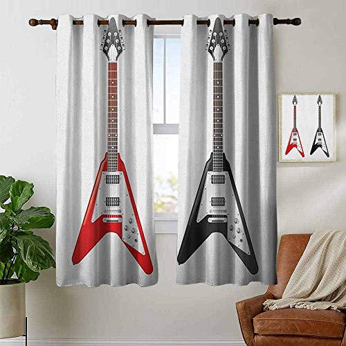 (petpany Blackout Curtains Guitar,Musical Instrument with V Shaped Design Famous Rock and Roll Strings Creativity, Multicolor,Insulating Room Darkening Blackout Drapes for Bedroom 42
