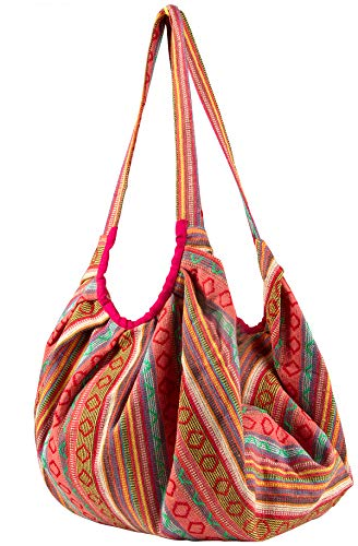 Tribe Azure Jacquard Cotton Baguette Shoulder Banana Style Fashion Travel Canvas Tote Bag Hobo Style Casual Market Purse Handbag (Pink)