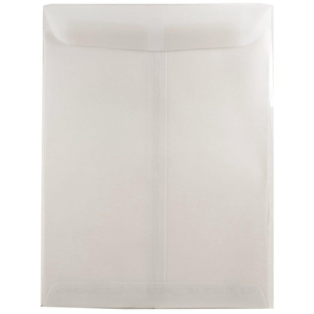 JAM Paper 10'' x 13'' Open End Catalog Envelopes with Gum Closure - White Translucent Vellum - 100/pack