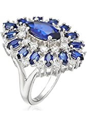 Sterling Silver, Marquise Created Sapphire, and Round Created White Sapphire Cocktail Ring