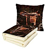 iPrint Quilt Dual-Use Pillow Western American West Traditional Authentic Style Rodeo Cowboy Saddle Wood Ranch Barn Image Multifunctional Air-Conditioning Quilt Dark Brown