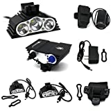 1 Pcs Extreme Popular Style 4 Modes 7500LM LED Bike Lights Flashlight Water Resistant Rechargeable Color Black with Battery Charger