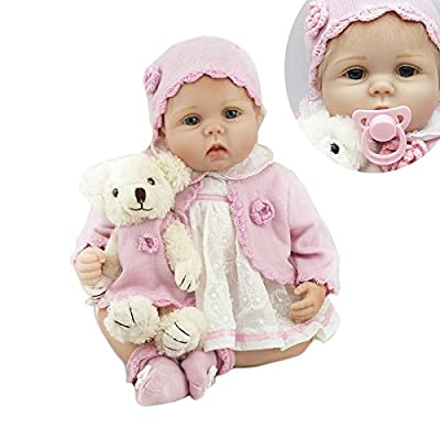 Nicery Reborn Baby Doll Soft Simulation Silicone Vinyl Cloth Body 22 inch 55 cm Magnetic Mouth Lifelike Vivid Boy Girl Toy for Ages 3+ Cloth Body Lovely Lucy RD55C264L: Toys & Games