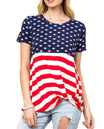 (AMCLOS Womens Tops Striped T-Shirts Front Knot Side Twist Tunic Casual Cold Shoulder Blouses Short Sleeve Summer (A-Star, L))