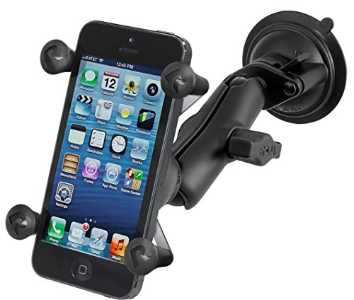 Ram Mount Twist Lock Suction Cup Mount with Universal Cell Phone Holder, Black, RAM-B-166-UN7U (Renewed)