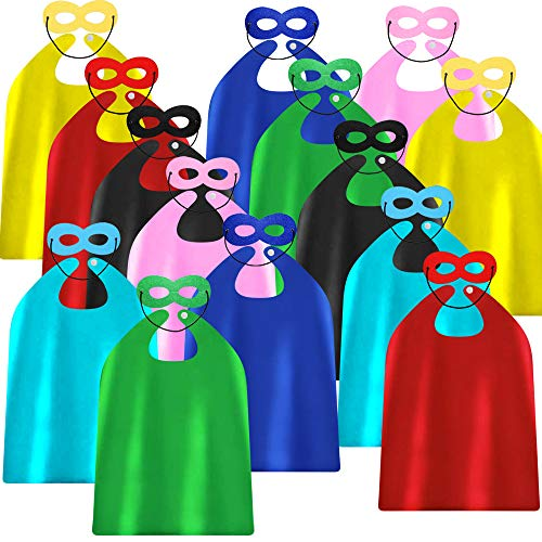 ADJOY Superhero Capes and Masks for Kids Birthday Party - DIY Dress Up Costumes - Bulk Pack of 28 Pcs (14 Sets)]()
