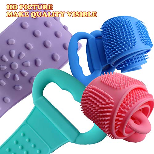 31.49inch Food Grade Silicone Back Scrubber for Shower,80cm DualSide Deep Clean Body Scrubber Exfoliating Massage, Easy To Use lenthen Dry Face Scrub Strap Belt Bath Brush for Women Men Kids-Green