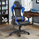 Giantex Gaming Chair Racing Chair Ergonomic Office Chair w/ High Back Lumbar Support and Pillow Executive Computer Task Desk Gaming Chair (Blue)